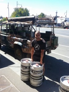 Stevie making the first delivery of Two Up Pale Ale to Club Rouge in Bendigo